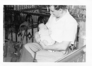 My dad holding me not long after I was born in 1953. He died in 1987 and my career never truly recovered from what came next..