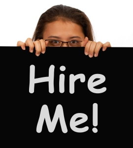 Hire Me Sign With Woman Showing Job Seek